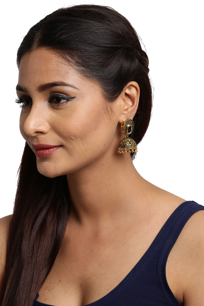 Zaver Pearls Dark Antique & Kundan Jhumki Earring - Zpfk5889