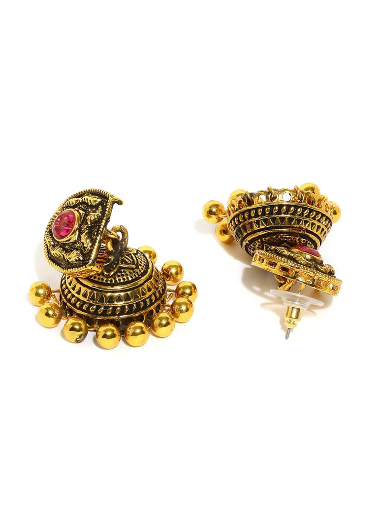 Dark Antique Jhumki Earring - Zpfk5892