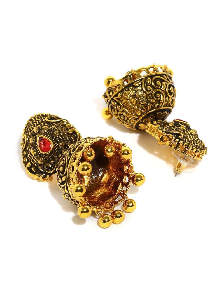 Dark Antique Jhumki Earring - Zpfk5893