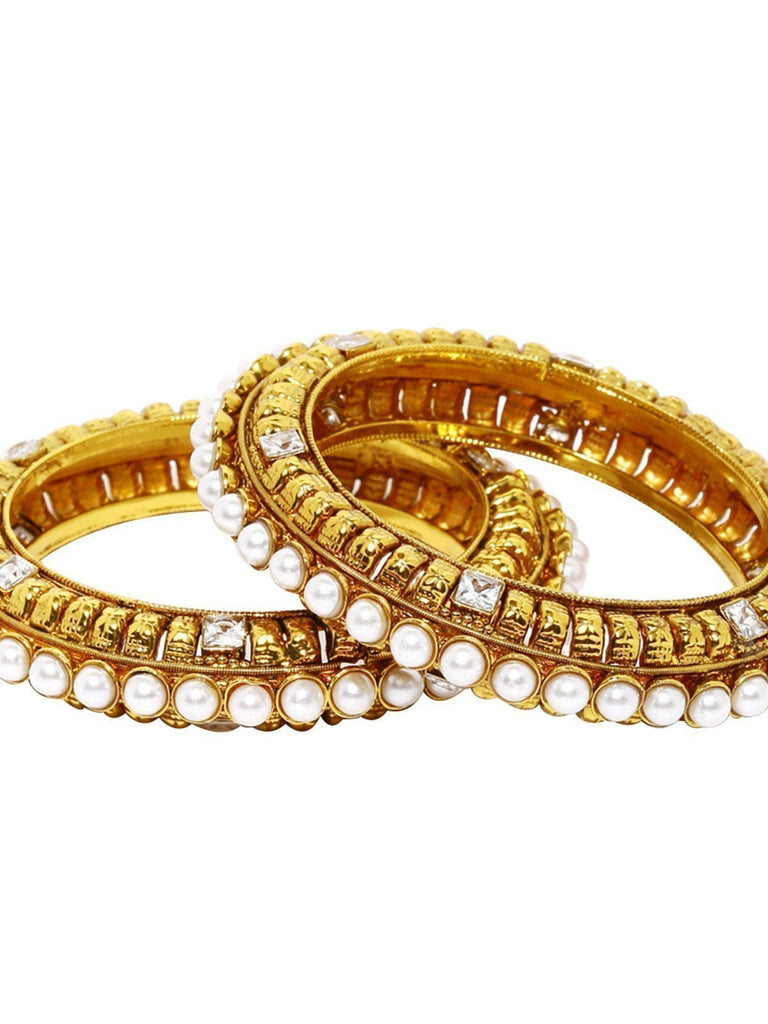 Set Of 2 Royal Look Pearls Studded Bangles