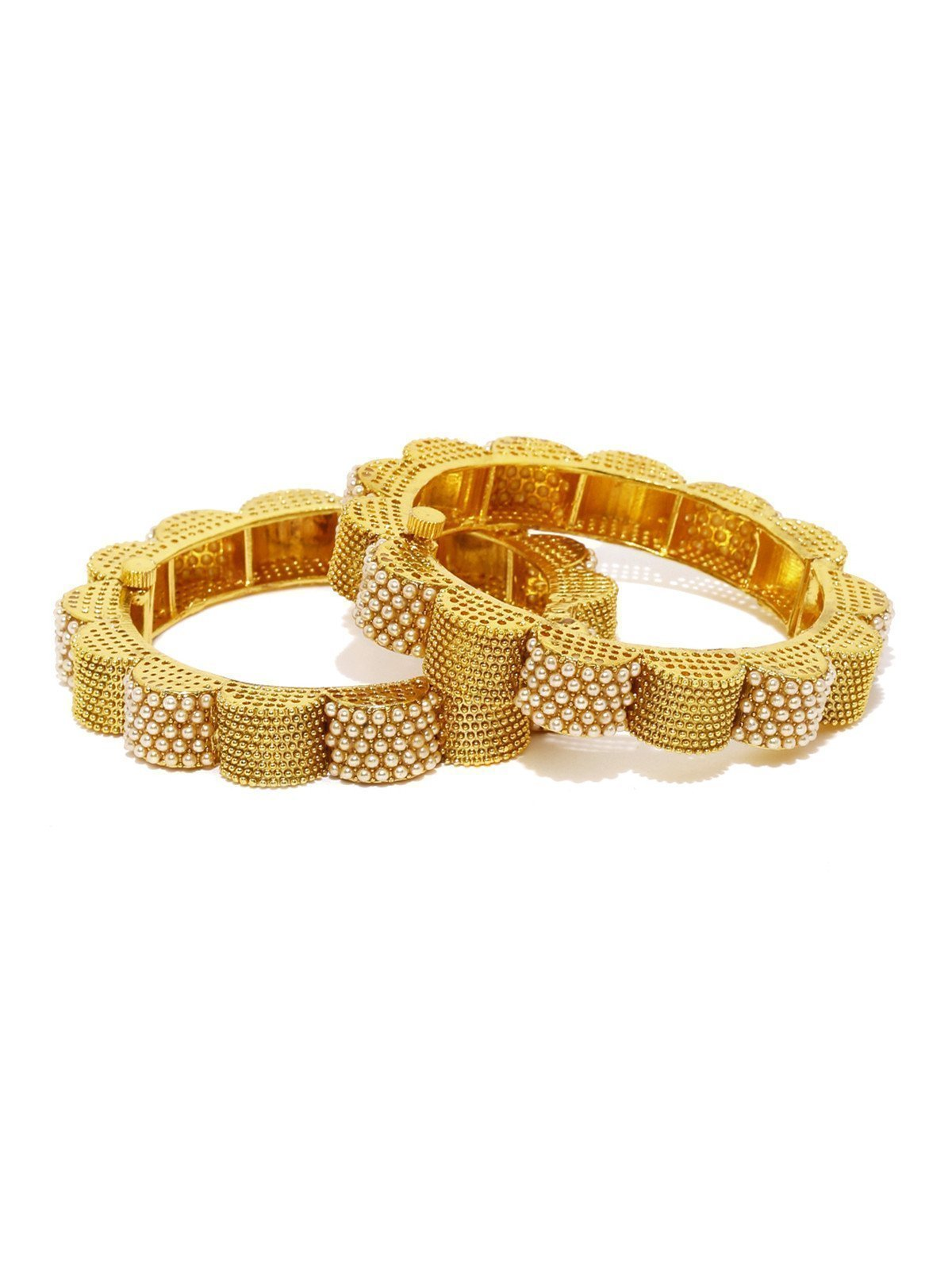 Set Of 2 Fashion Forward Ethnic Pearls-Studded Openable Bangles