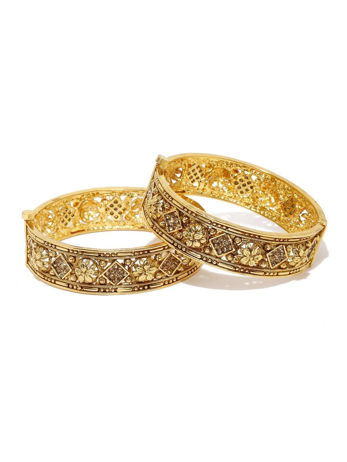 Set Of 2 Beautifully Designed Floral Openable Bangles