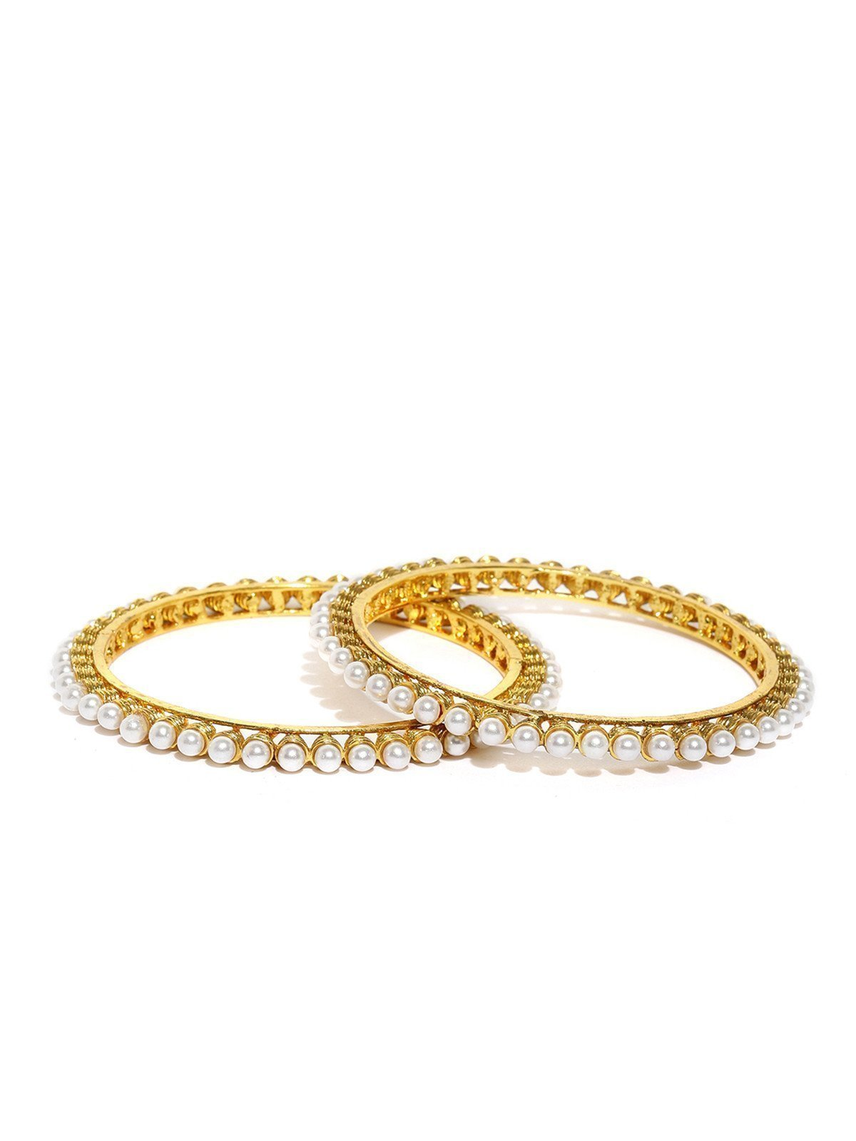 Set Of 2 Ethnic Pearls Studded Bangles