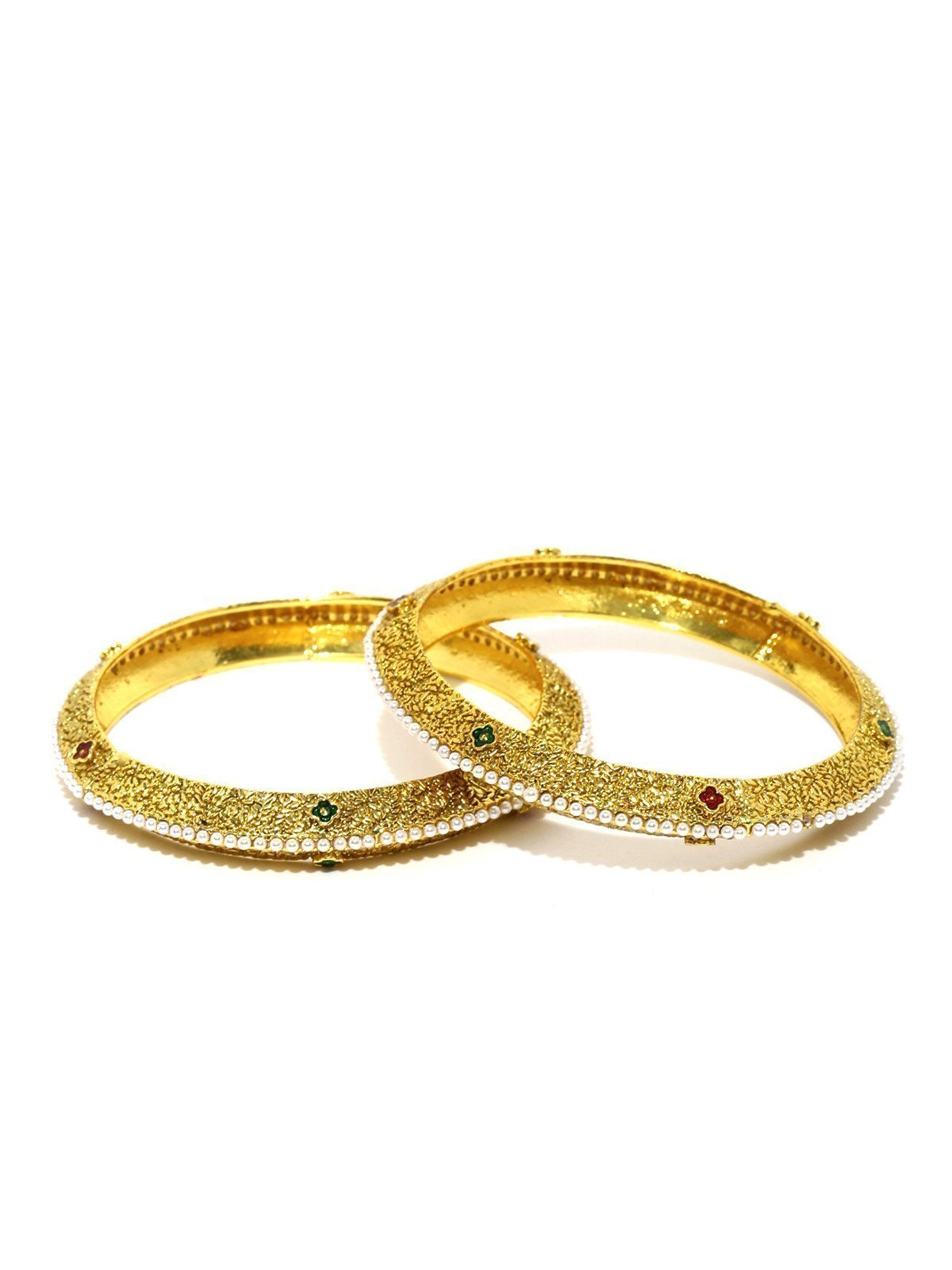 Set Of 2 Finely Detailed & Pearls Studded Bangles