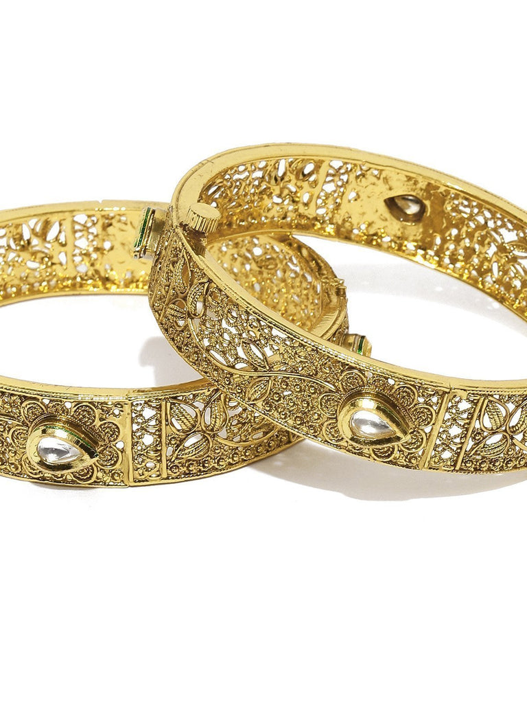 Set Of 2 Finely Detailed Kundan Openable Bangles