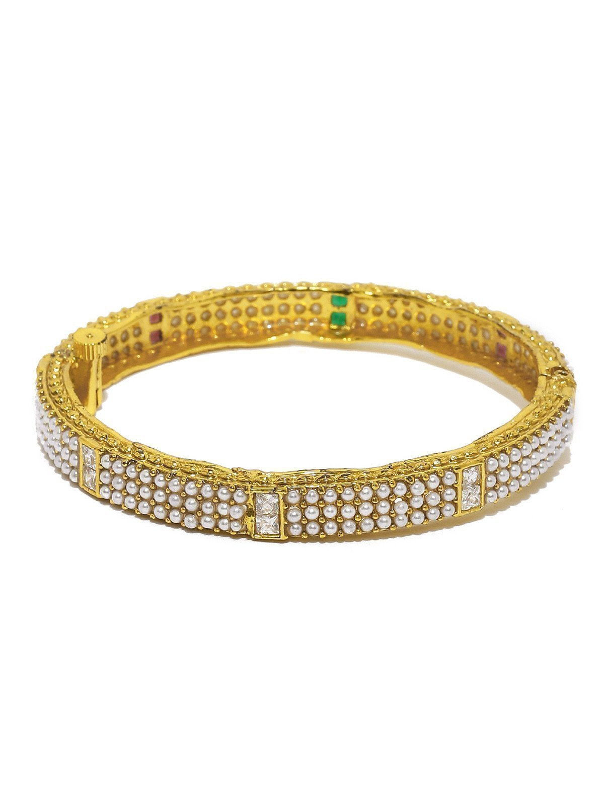 Ethnic Pearls Studded Openable Bangles
