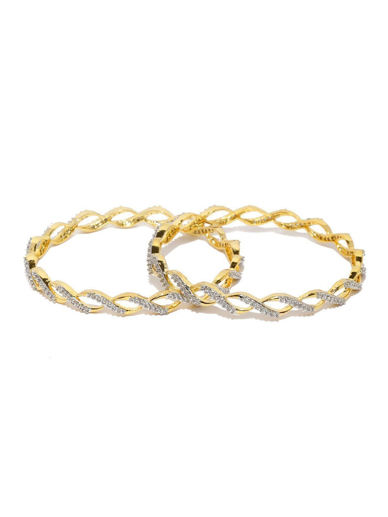 Set Of 2 Designer Cubic Zirconia Bangles