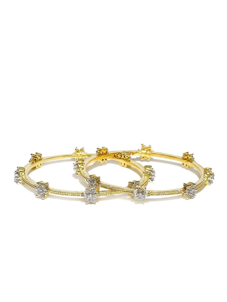 Set Of 2 Delicate Cubic Zirconia Floral Bangles