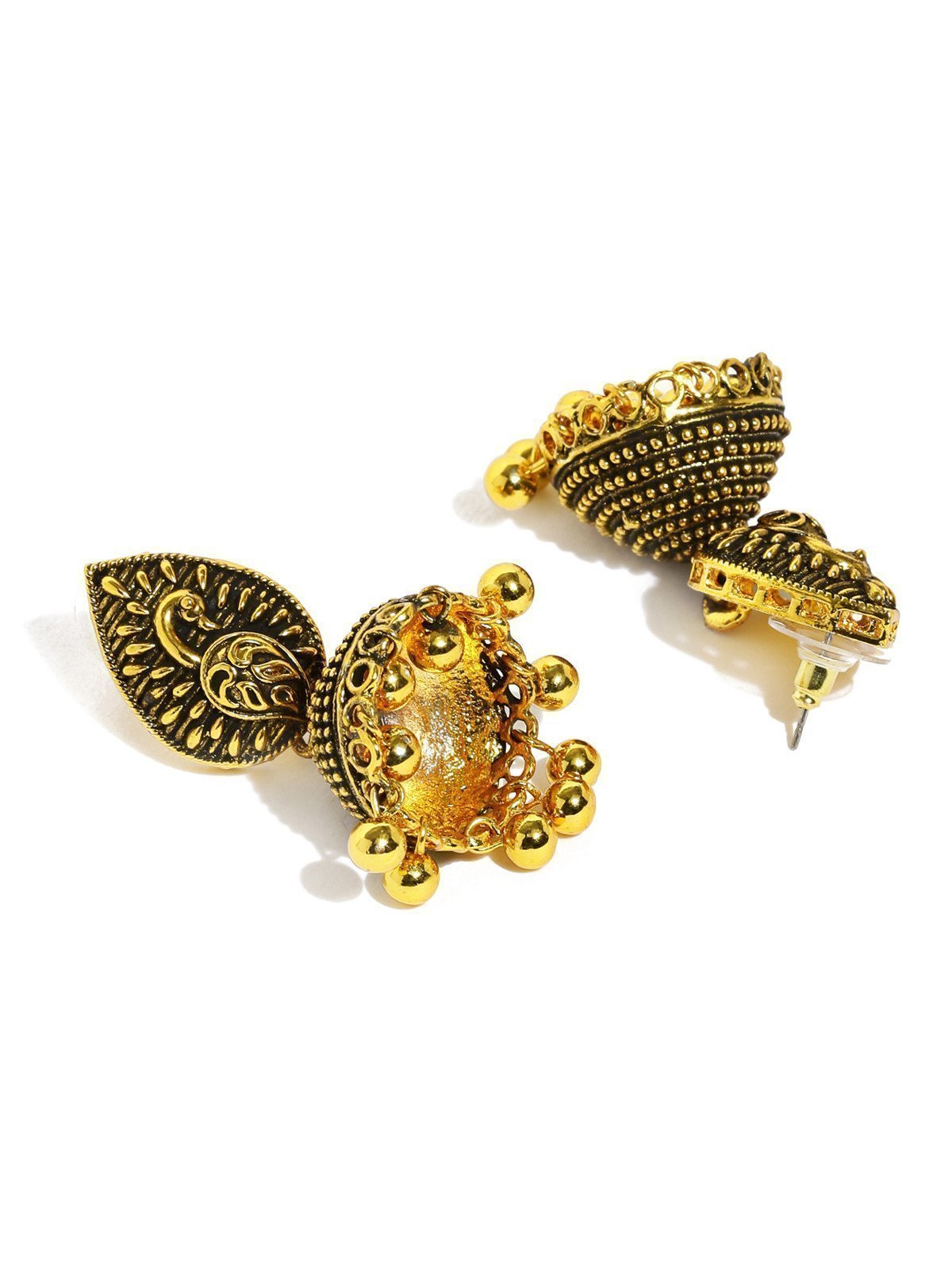 Dark Antique Graceful Peacock Jhumki Earring - Zpfk5938