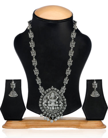 Dark Antique Oxidised Lakshmi Temple Necklace Set - Zpfk5989