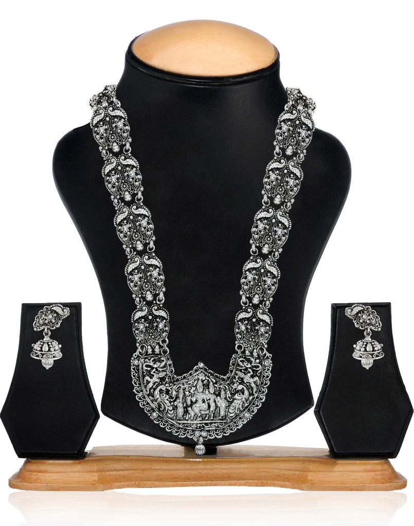 Dark Antique Oxidised Temple Necklace Set - Zpfk5990