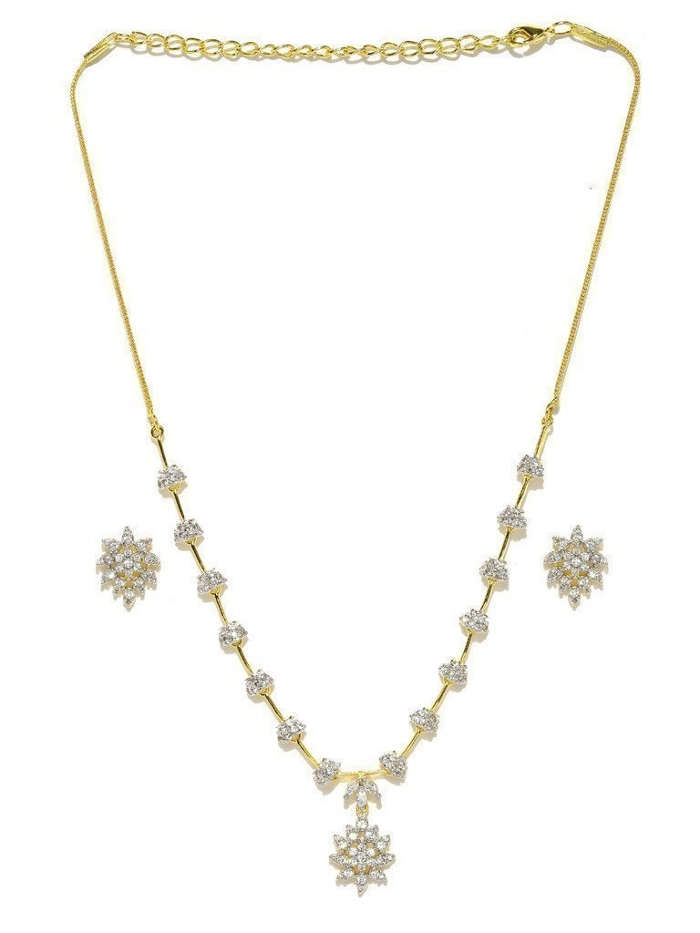 Mesmerising Cubic Zirconia Necklace Set - Zpfk5993