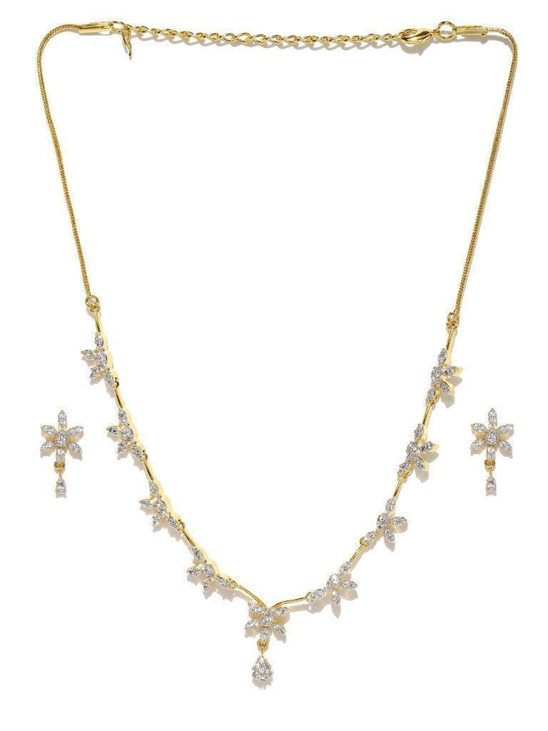 Delicate Cubic Zirconia Necklace Set - Zpfk6009