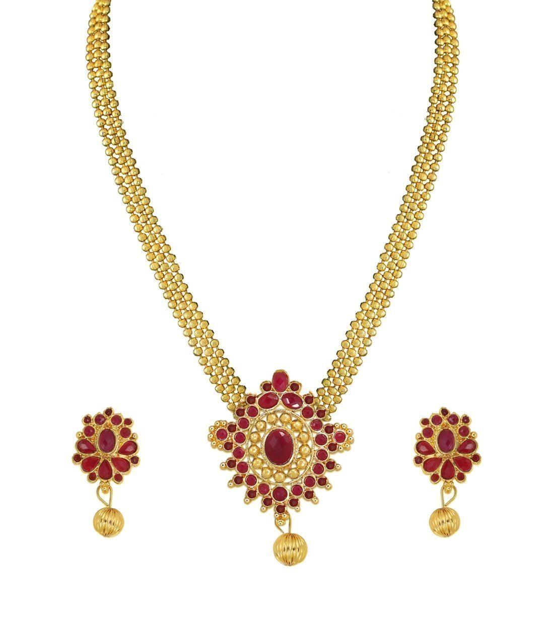 Zaveri Pearls Set Of Two Antique Gold Necklace Set