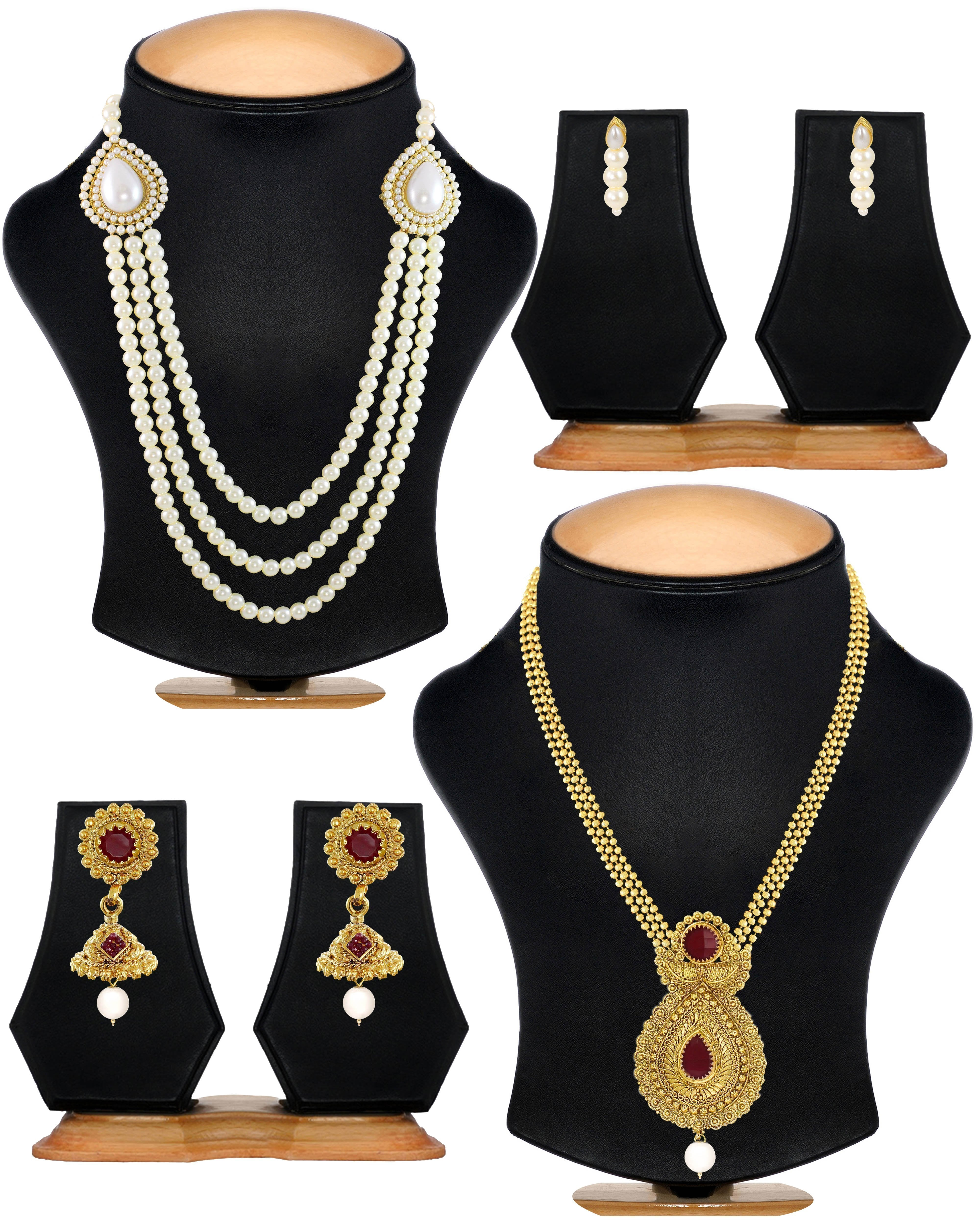 Zaveri Pearls Set Of Two Gold Plated Necklace Set