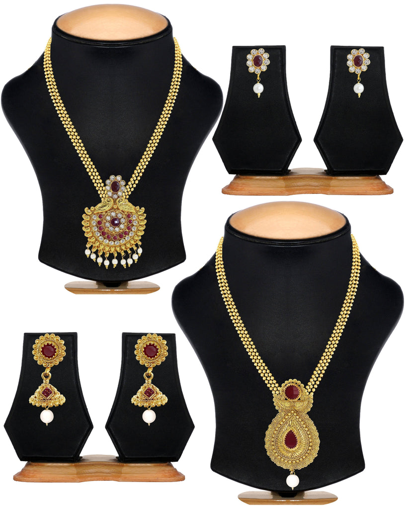 Set Of Two Antique Gold Haram Necklace Set- Zpfk6015