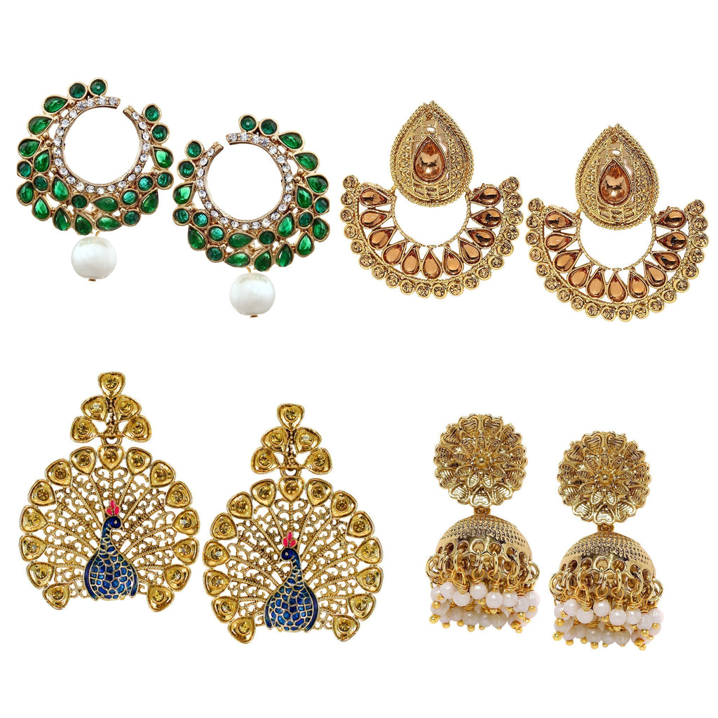 Combo Of 4 Ethnic Earrings - Zpfk6029