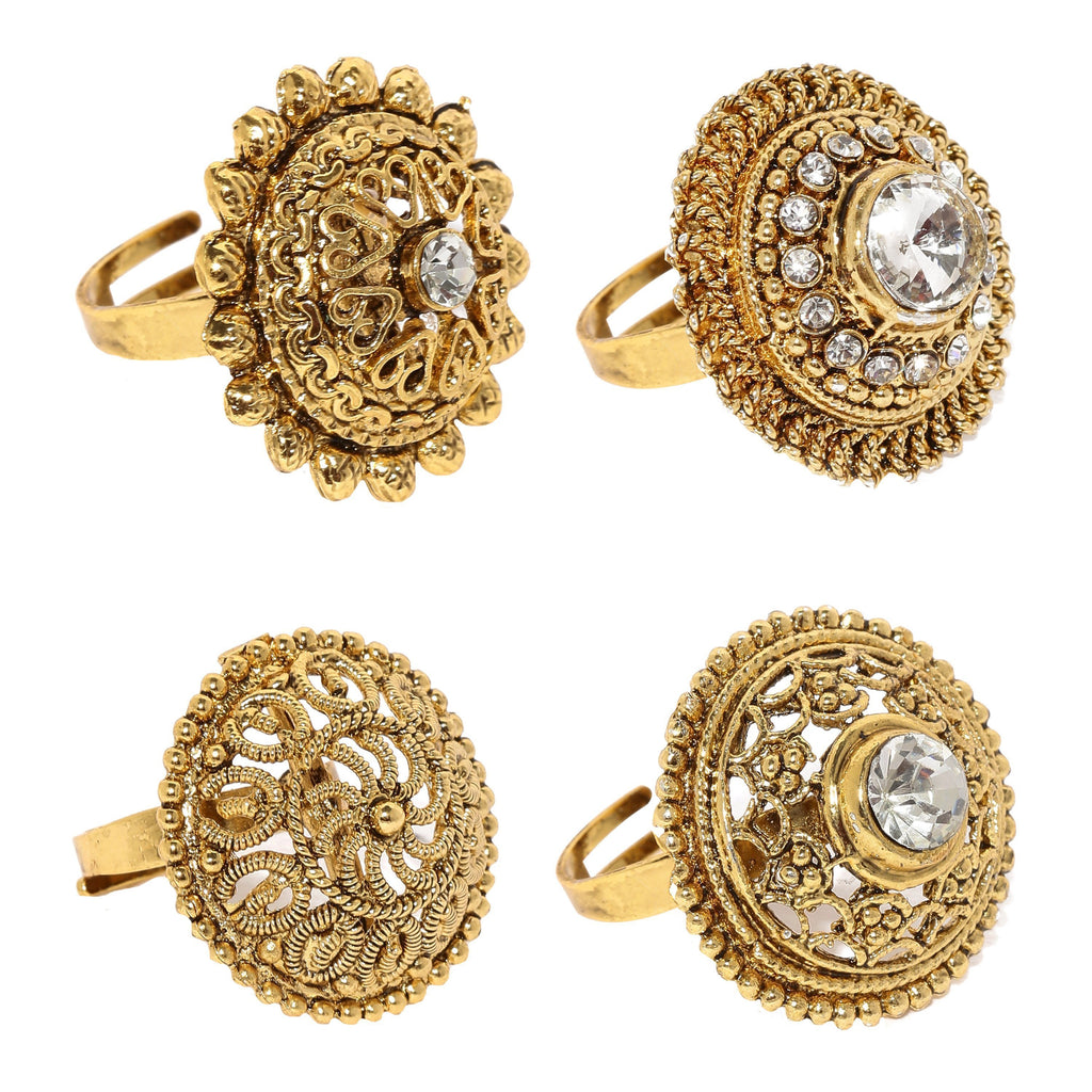 Combo Of 4 Ethnic Finger Rings - Zpfk6031