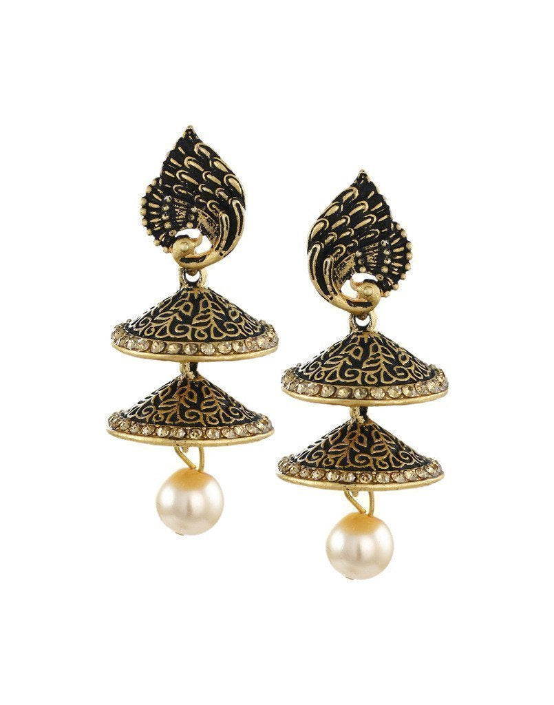 Dark Antique Double-Decker Jhumki Earring - Zpfk6042