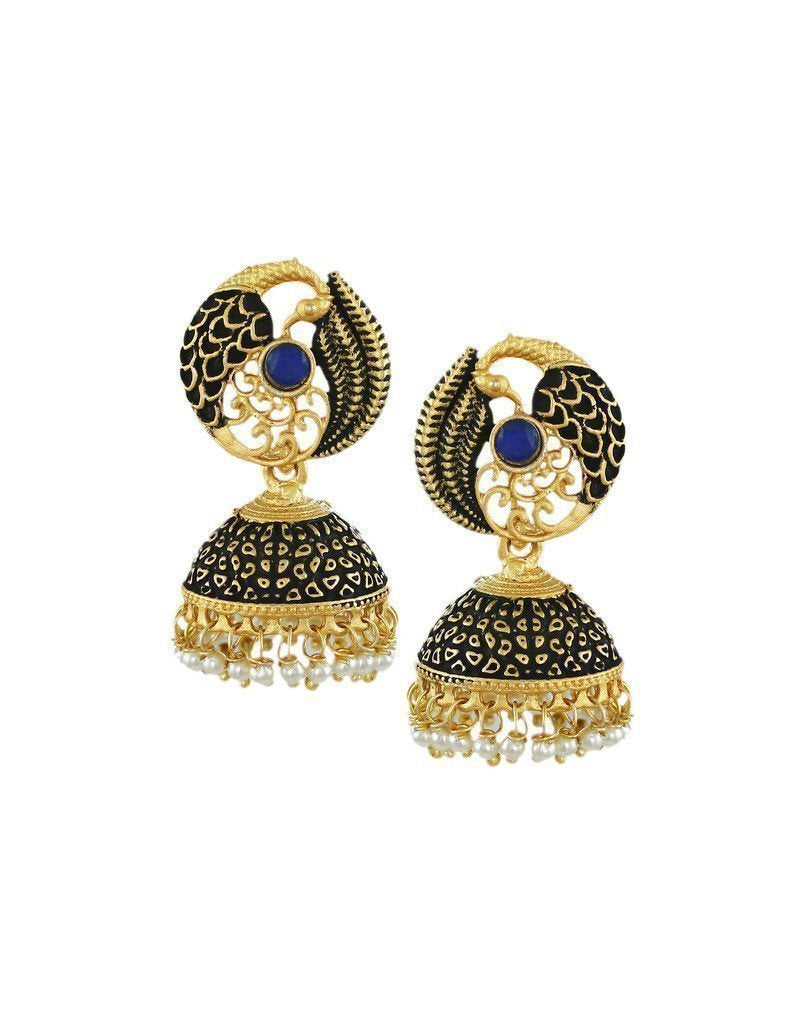 Dark Antique Peacock Inspired Jhumki Earring - Zpfk6043