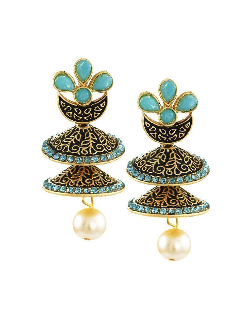 Dark Antique Double-Decker Jhumki Earring - Zpfk6045