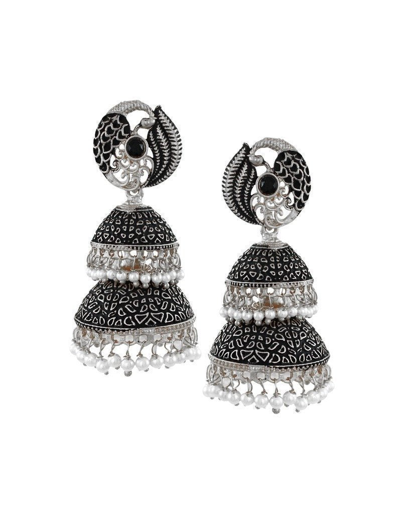Dark Antique Double-Decker Jhumki Earring - Zpfk6049