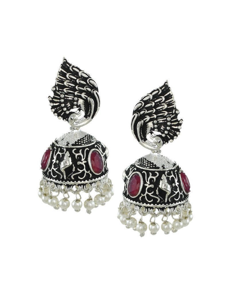 Dark Antique Peacock Inspired Jhumki Earring - Zpfk6052
