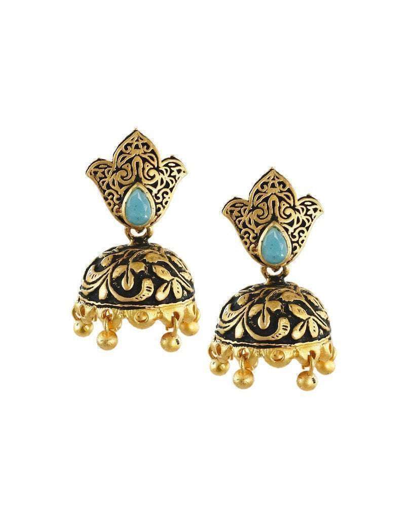 Dark Antique Jhumki Earring - Zpfk6053