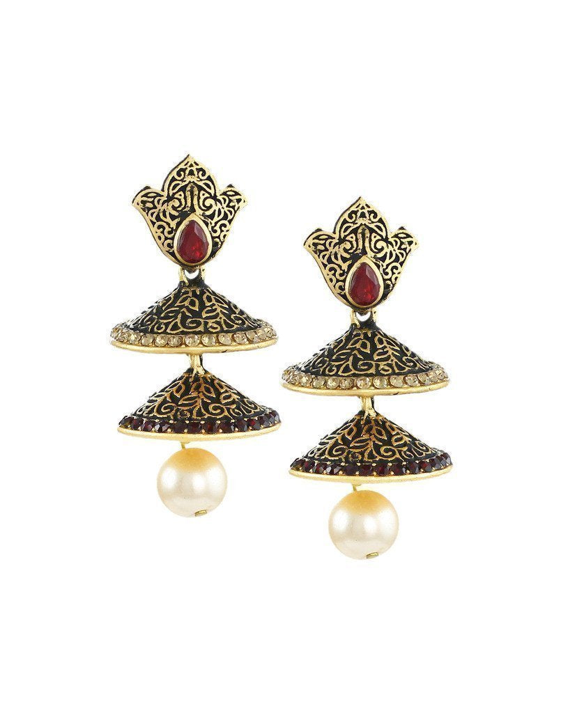 Dark Antique Double-Decker Jhumki Earring - Zpfk6056