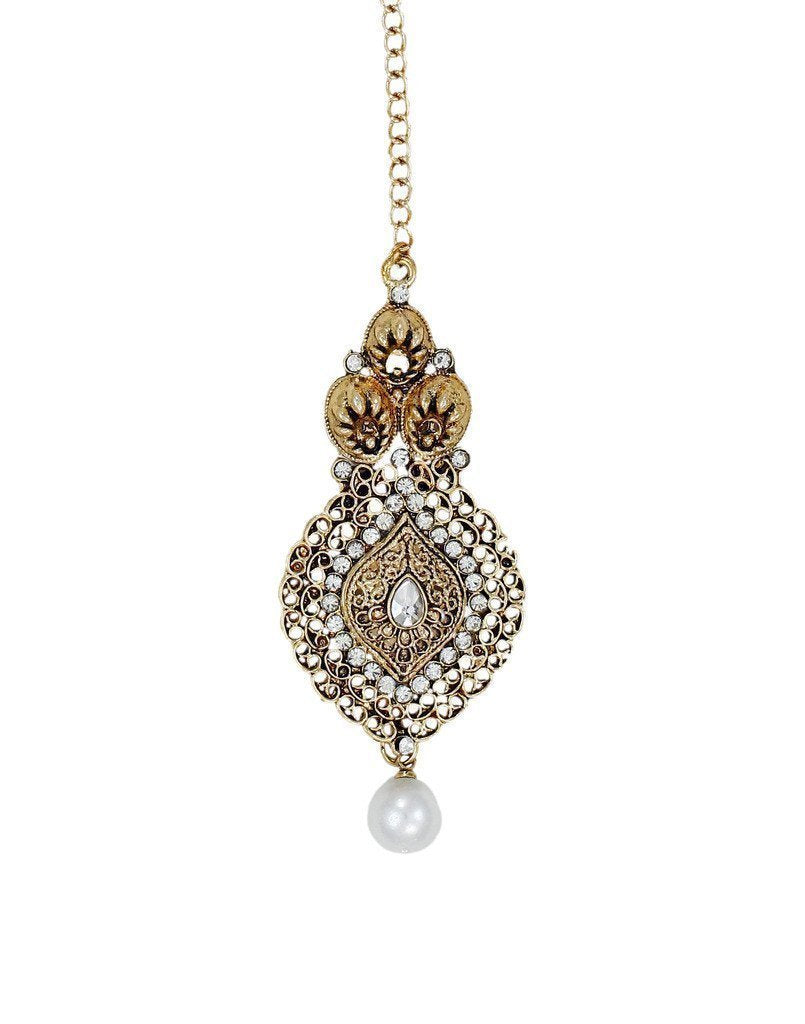 Ethnic Austrian Diamonds Studded Maang Tikka - Zpfk6079