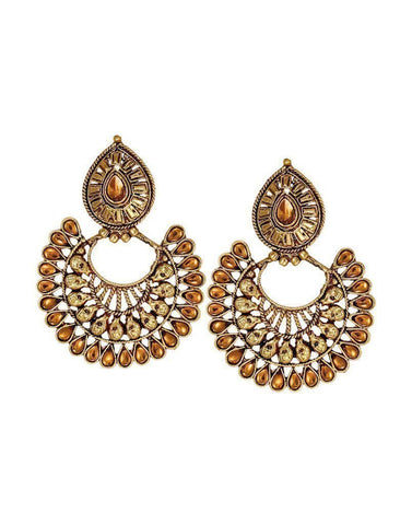 Ethnic Chandbali Earring With Maang Tikka - Zpfk6086
