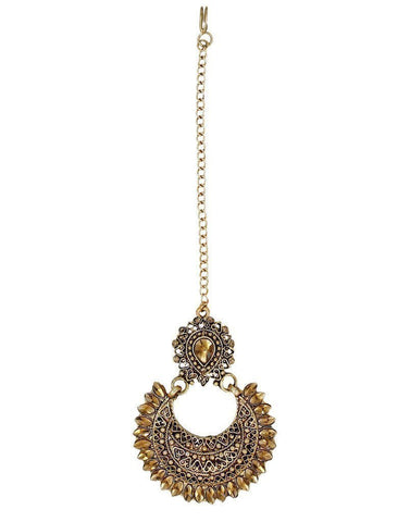 Ethnic Chandbali Earring With Maang Tikka - Zpfk6087
