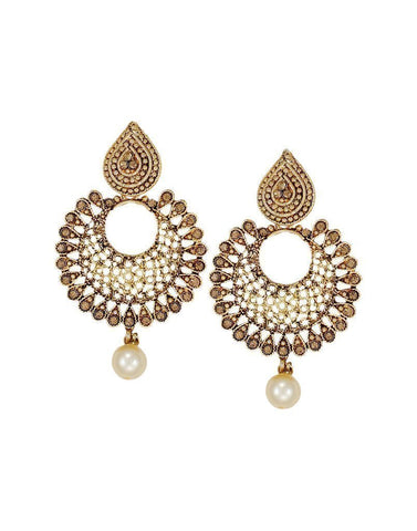 Ethnic Chandbali Earring With Maang Tikka - Zpfk6088