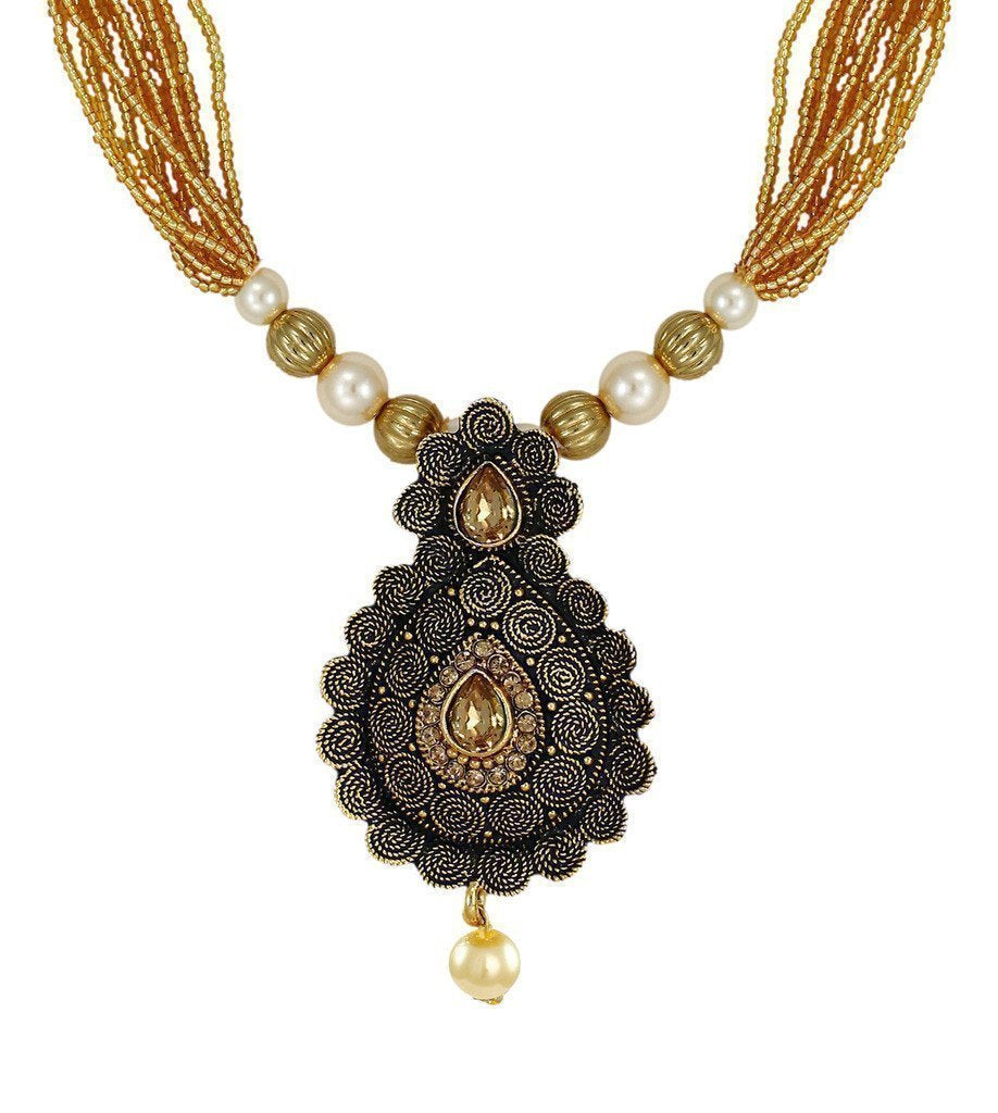 Dark Antique Multi Strands Pearl Drop Necklace Set - Zpfk6104