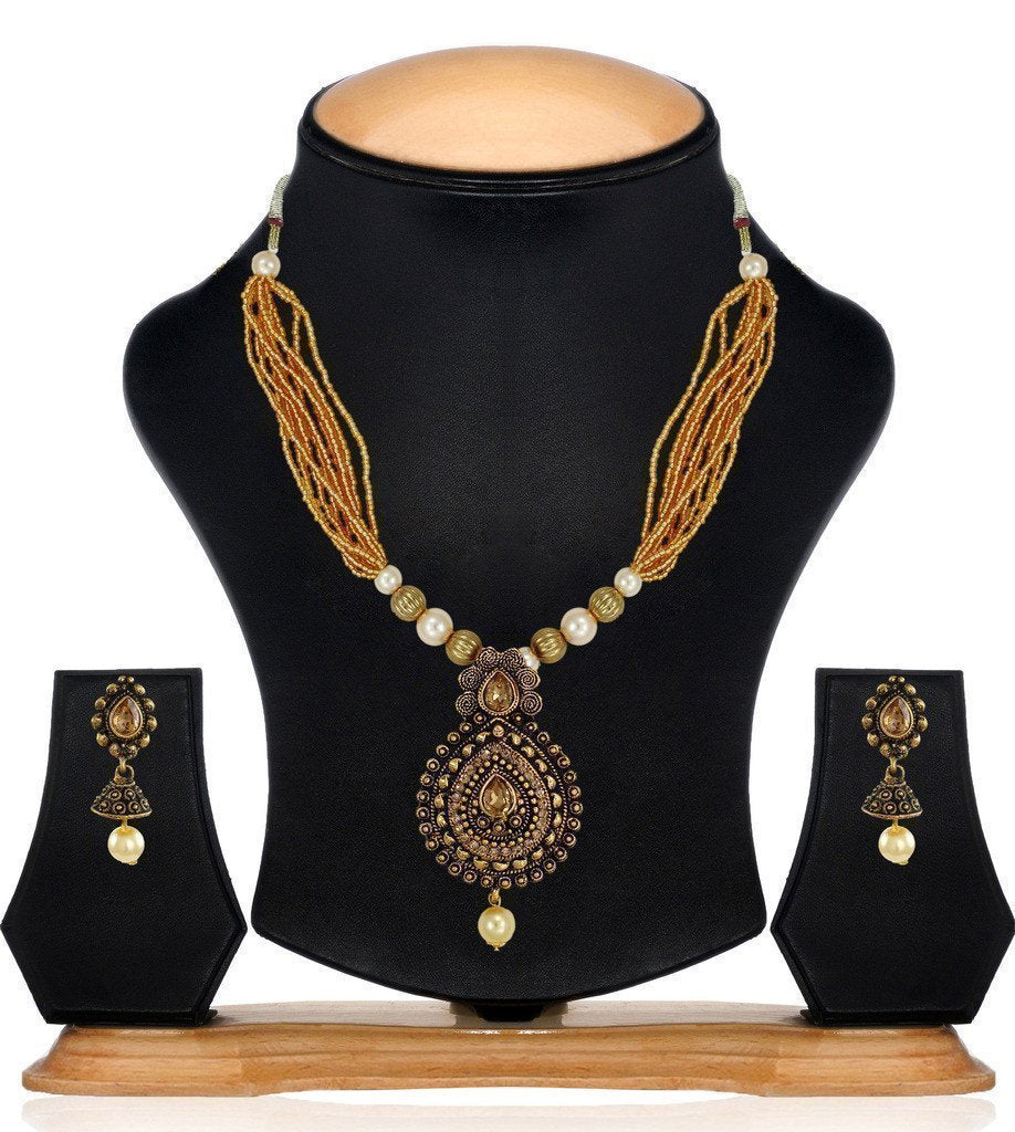 Dark Antique Multi Strands Pearl Drop Necklace Set - Zpfk6107