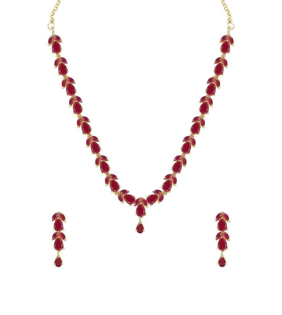 Delicate Ruby Necklace Set - Zpfk6110