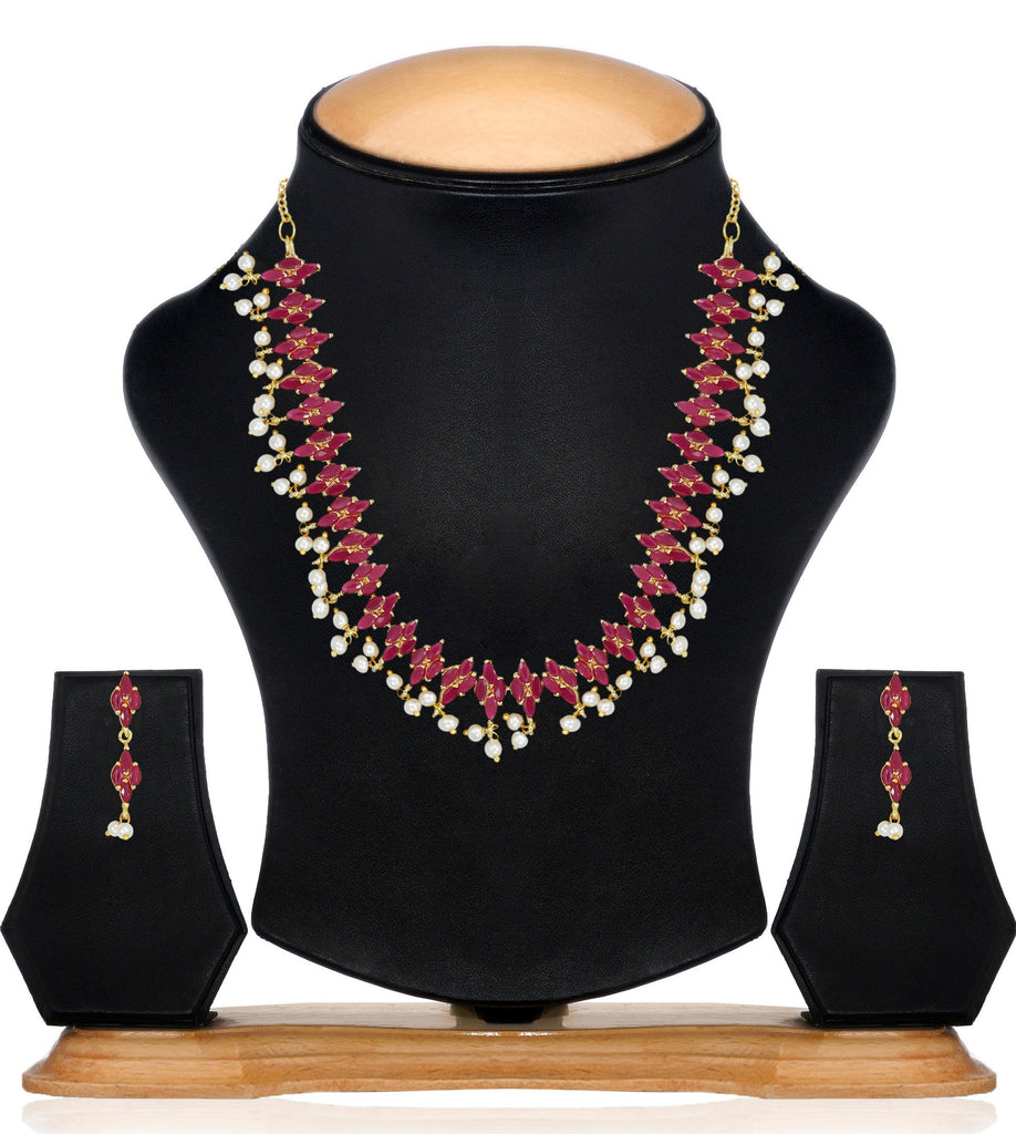 Ruby With Pearls Drop Necklace Set - Zpfk6113
