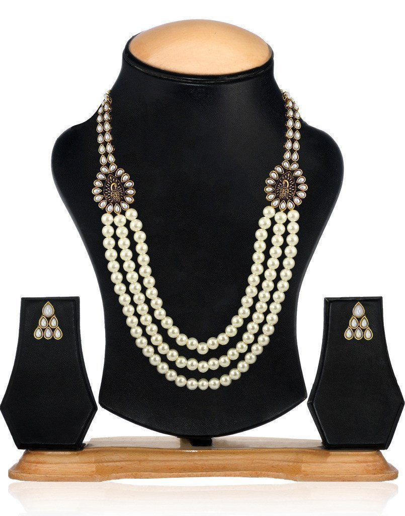 Royal Look Multi Strand Motti Mala Necklace Set - Zpfk6134