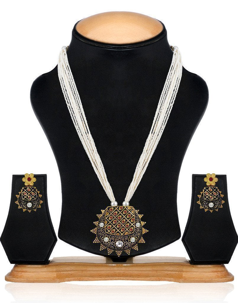 Royal Look Multi Strand Motti Mala Necklace Set - Zpfk6135