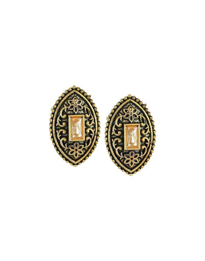 Dark Antique Stud Earring - Zpfk6164