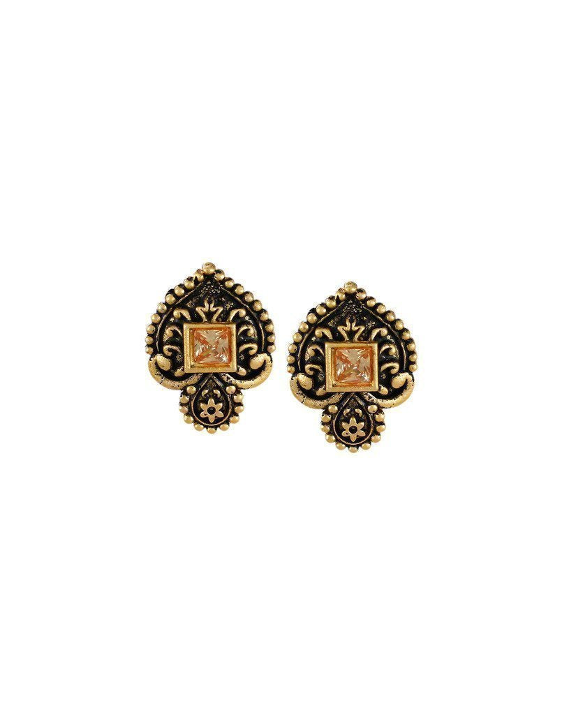 Dark Antique Stud Earring - Zpfk6172