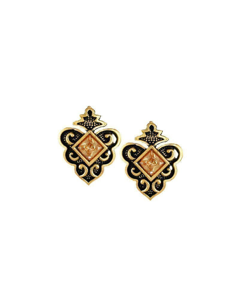 Zaveri Pearls Dark Antique Stud Earring - Zpfk6175