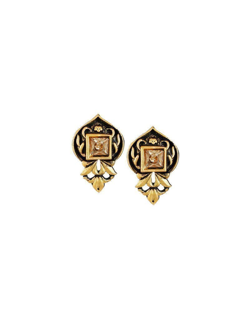 Zaveri Pearls Dark Antique Stud Earring - Zpfk6176