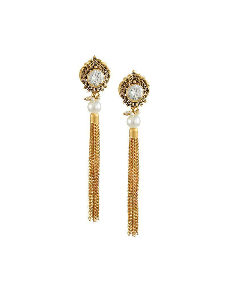 Zaveri Pearls Dark Antique Dangle Earring - Zpfk6181