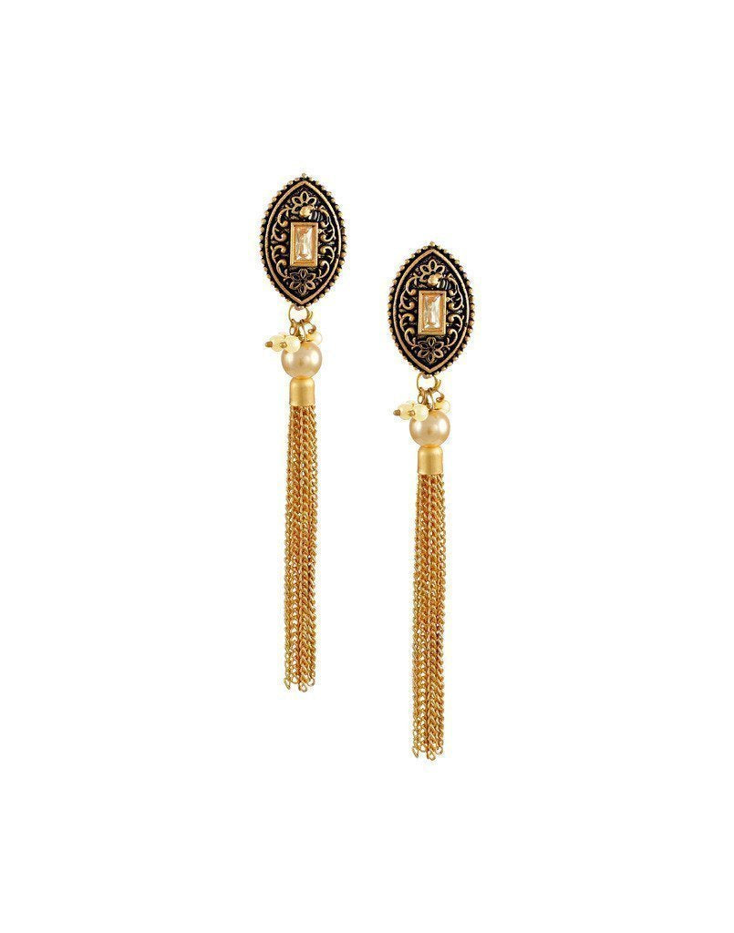 Zaveri Pearls Dark Antique Dangle Earring - Zpfk6183