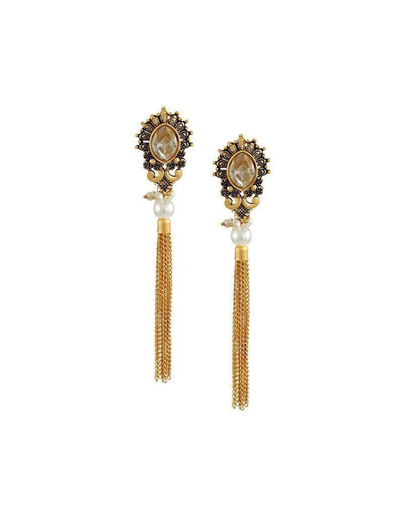 Zaveri Pearls Dark Antique Dangle Earring - Zpfk6184