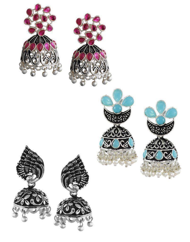 Zaveri Pearls Set of 3 Combo Ethnic Earring