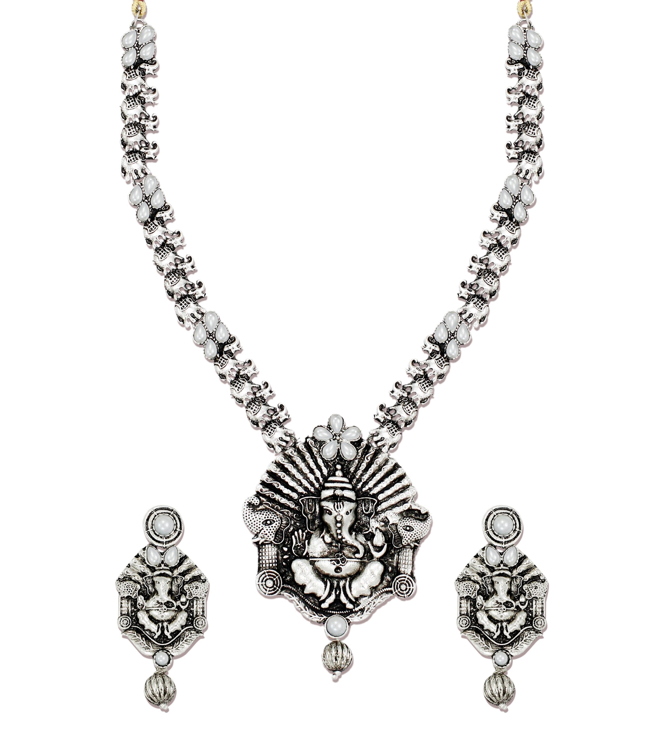 Zaveri Pearls Antique Lord Ganesha Temple Necklace Set