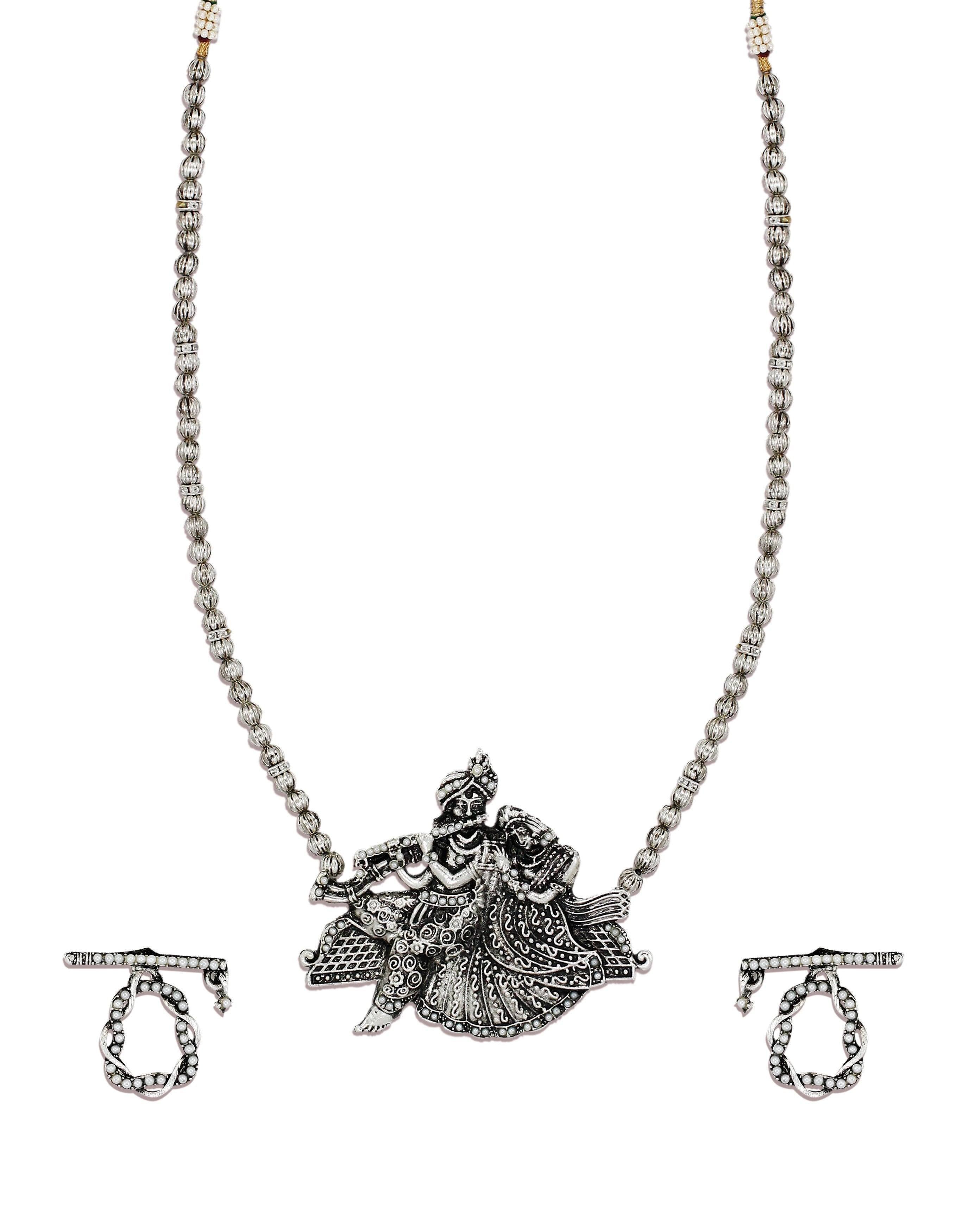 Zaveri Pearls Antique Silver Long Radha Krishna Temple Necklace Set