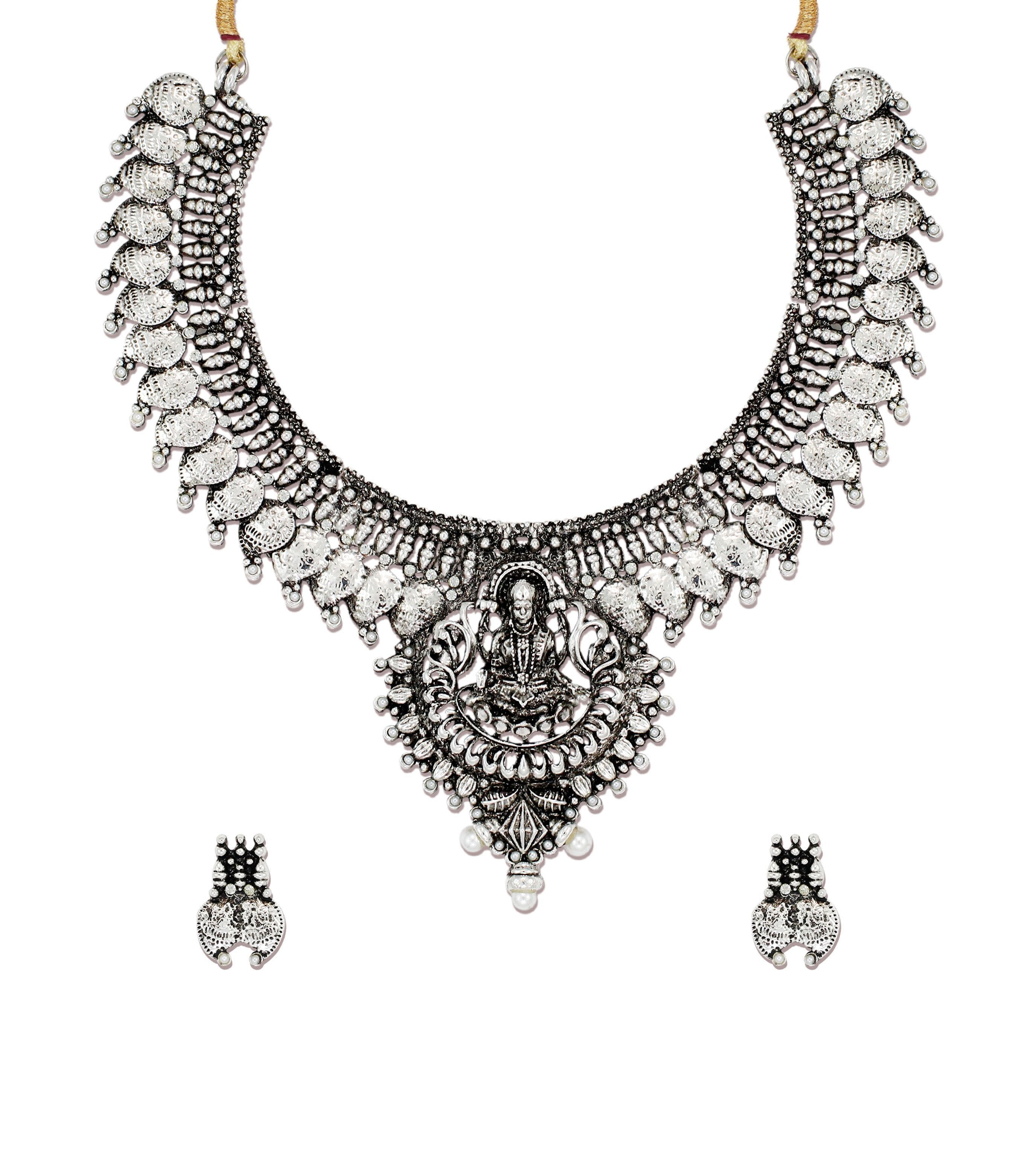Zaveri Pearls Antique Silver Goddess Temple Necklace Set